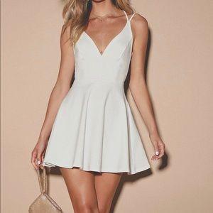 Strapped white skater dress